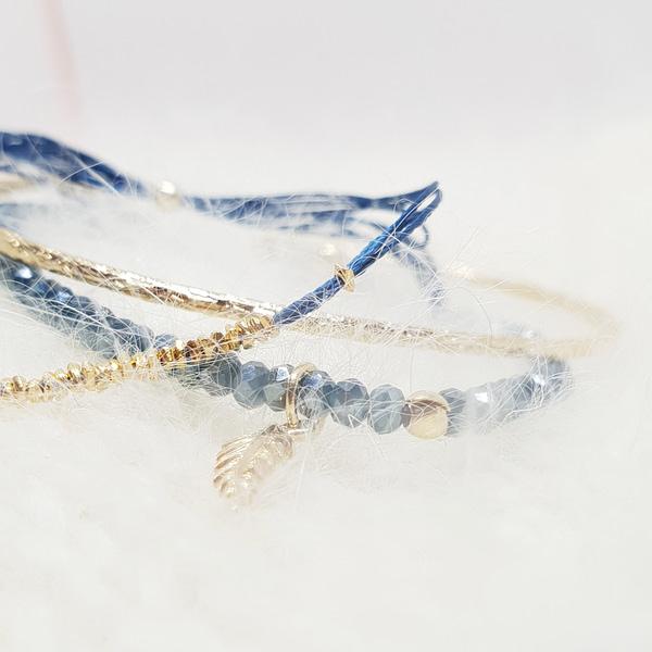 cristal bracelet bleu canard trio