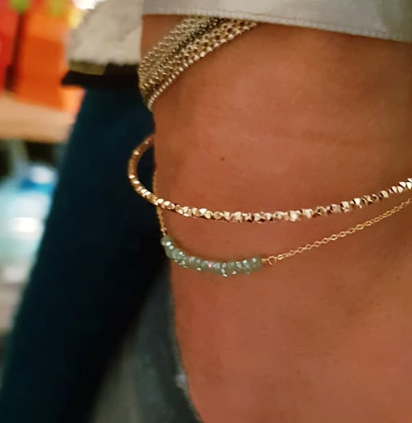bracelet cristal turquoise bijou fin